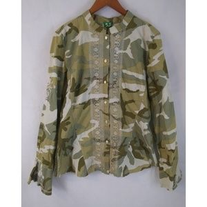 3J WORKSHOP Johnny Was Camo Embroidered Shirt L